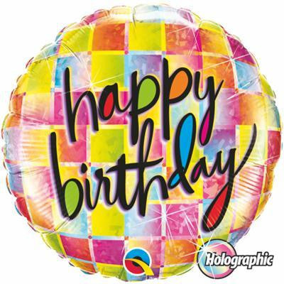 "Foil Balloon 18"" - Birthday Kaleidoscope Holographic"