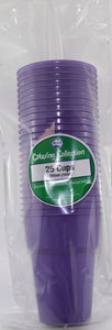Plastic Cups - Purple Pk 25