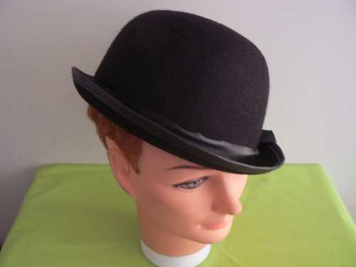 Hat - Bowler Satin (Black)