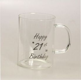 21st  Birthday Mug - Clear Glass Mug  21st