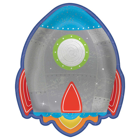Blast Off Birthday Rocket Shaped Metallic Lunch Plates