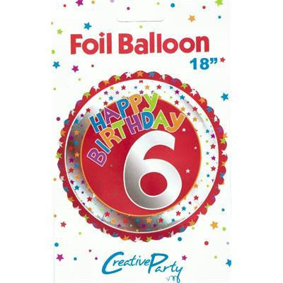 "Foil Balloon 18"" - 6th Birthday Red"
