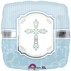 "Foil Balloon 18"" - Cross Blessing Blue"