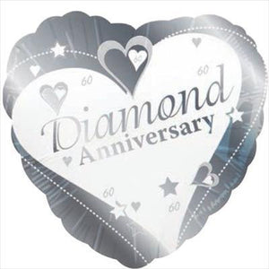 "Foil Balloon 18"" - 60th Diamond Anniversary Heart"