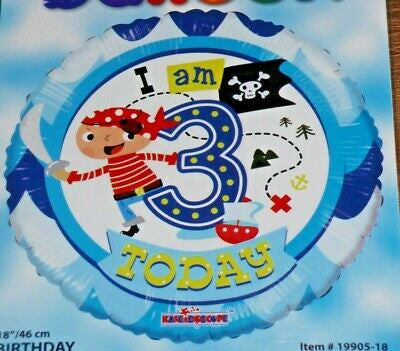 "Foil Balloon 18"" - I am 3 Today Pirate"