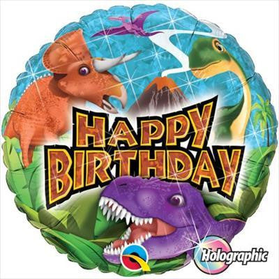 "Foil Balloon 18"" - Birthday Dinosaurs"