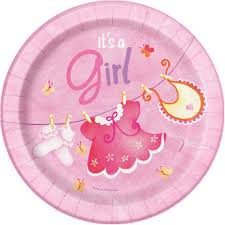 "It's A Girl  7"" Round Pink Plate"