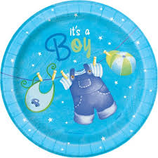 "It's A Boy 7"" Round Blue Plate"