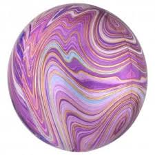 "Foil Ballon Orbz 15"" - Purple Marble ( Uninflated )"