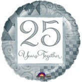 "Foil Balloon 18"" - 25th Silver Anniversary"
