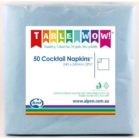 Napkins Cocktail - Light Blue Pk50