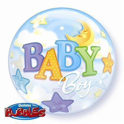 "Bubble Balloon 22"" - Baby Boy Moon & Stars"