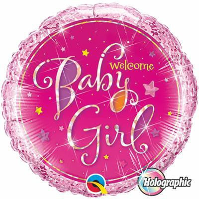 "Foil Balloon 18"" - Welcome Baby Girl Stars Holographic"