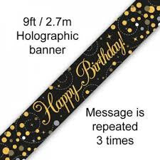 Banner - Happy Birthday Holographic Black & Gold""