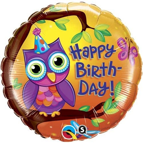 "Foil Balloon 18"" - Birthday Owl"