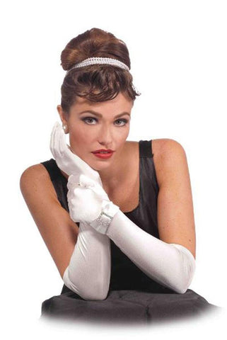 Gloves - Vintage Hollywood Long Satin White with Buckle
