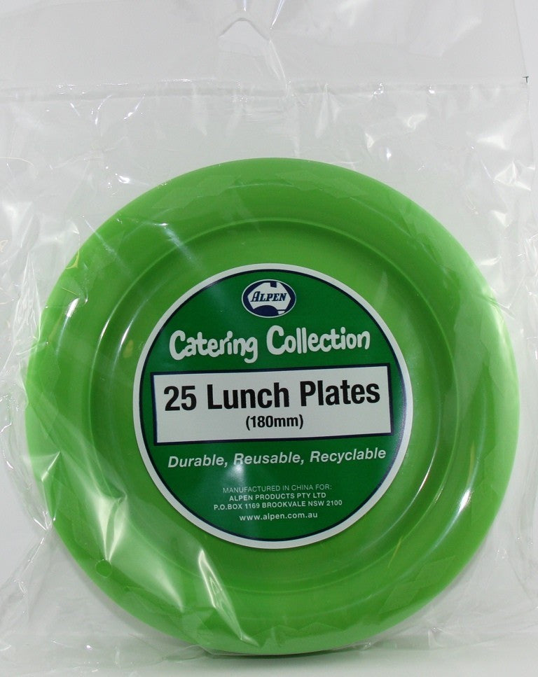 Plastic Lunch Plates - Lime Green Pk 25