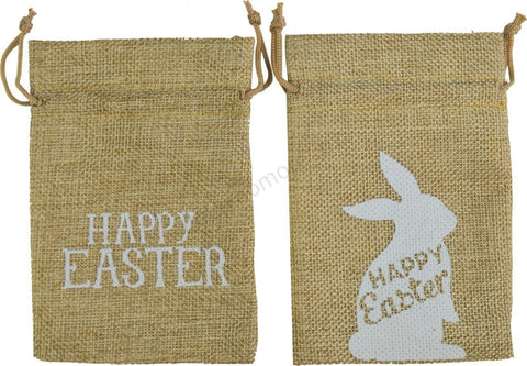 Happy Easter Bunny Hessian Treat Bags Pk2