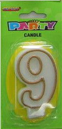 Candle Number - 9th Gold Border