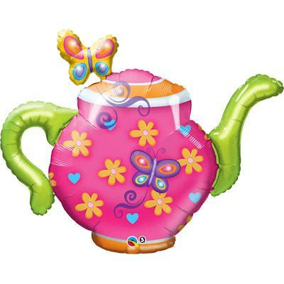 Foil Balloon Supershape - Teapot & Butterflies