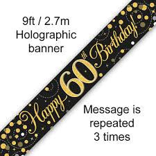 Banner - Happy 60th Birthday Holographic Black & Gold""