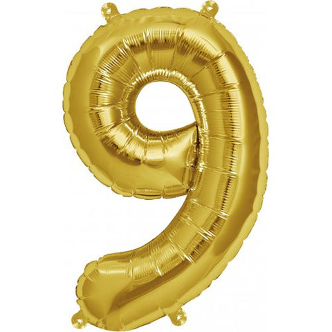 Foil Balloon 16'' - Number 9 Real Gold Package Only