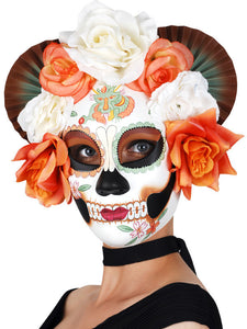 Mask - Sugar Skull Flowers Cream/Orange