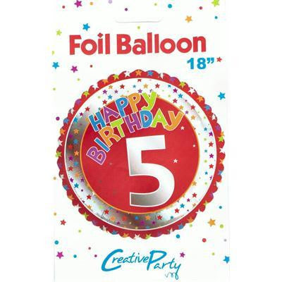 "Foil Balloon 18"" - 5th Birthday Red"