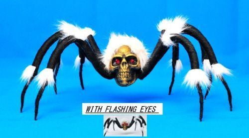 Skull Spider w/White Fur & Light Up Eyes