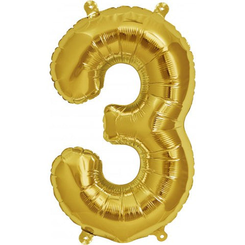 Foil Balloon 16'' - Number 3 Real Gold Package Only