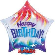 "Bubble Balloon 22"" - Happy Birthday Colorful Stripes"