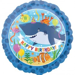 "Foil Balloon 18"" - Birthday Ocean Shark"