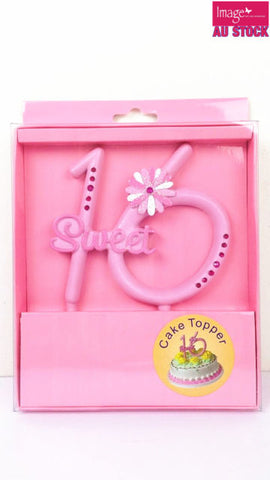 Cake Topper- Sweet 16th Pink