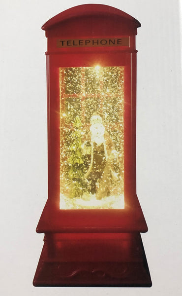 Acrylic Light up Telephone Booth With Santa (26.5cm)