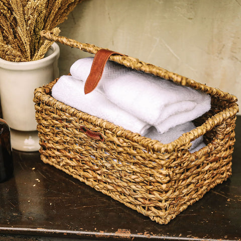 Beautiful storage baskets woven in the Philippines.