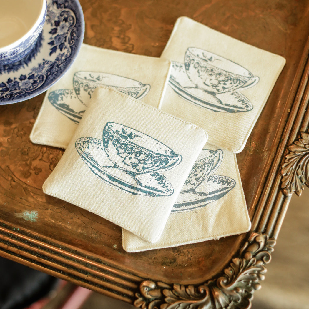 Victoria Rose Tea Cup Coaster Set