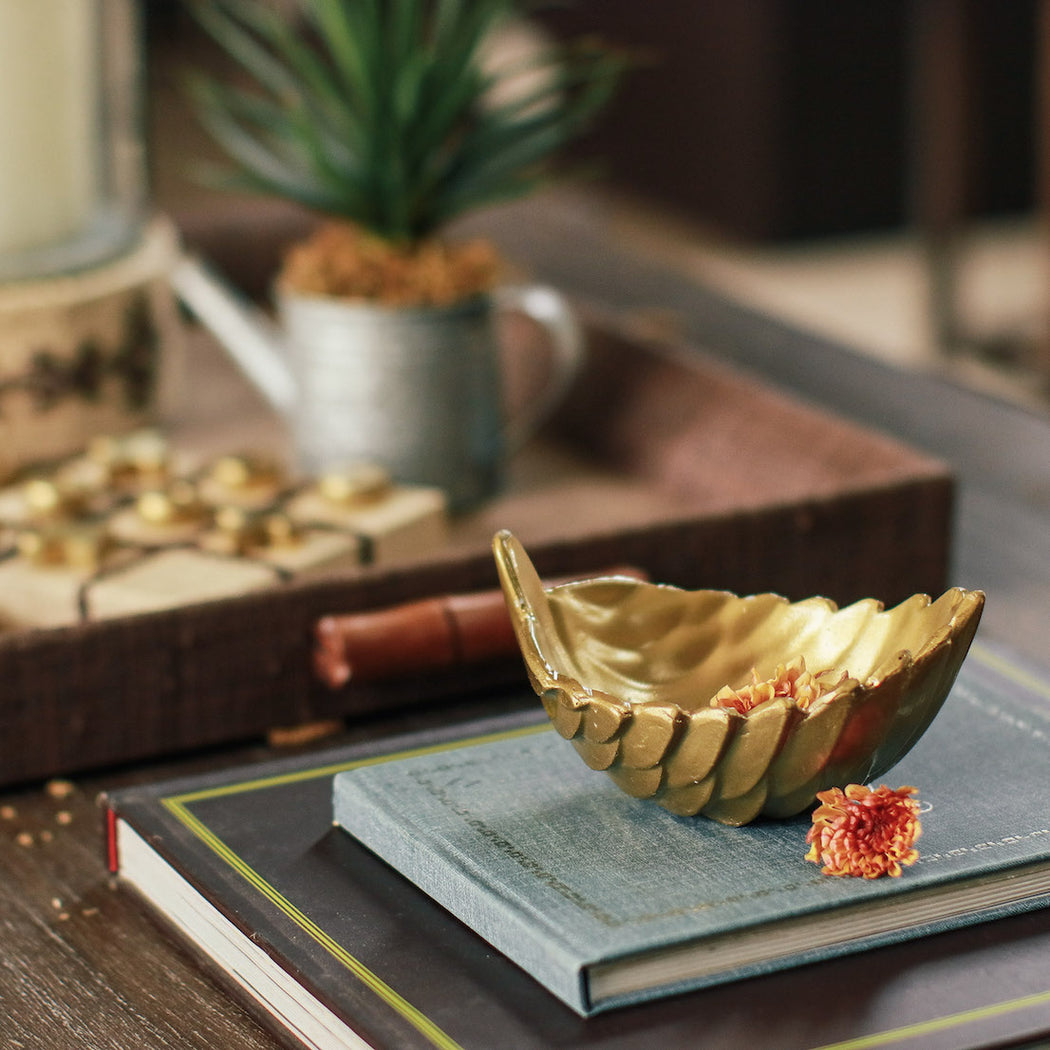 Roselin Metallic Gold Leaf Bowl
