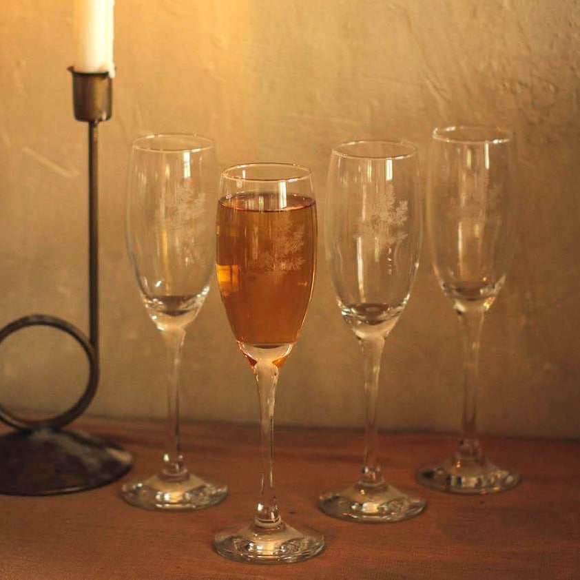 Noelle Etched Drinking Sparkling Wine Flute Glass Set of 4