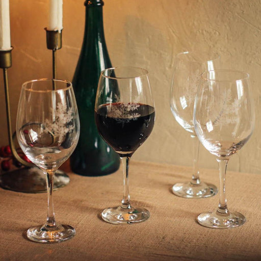 Featuring an etched juniper design, this set adds timeless and classic elegance to intimate gatherings for this holiday season. Red wine glasses available in the Philippines through Domesticity.