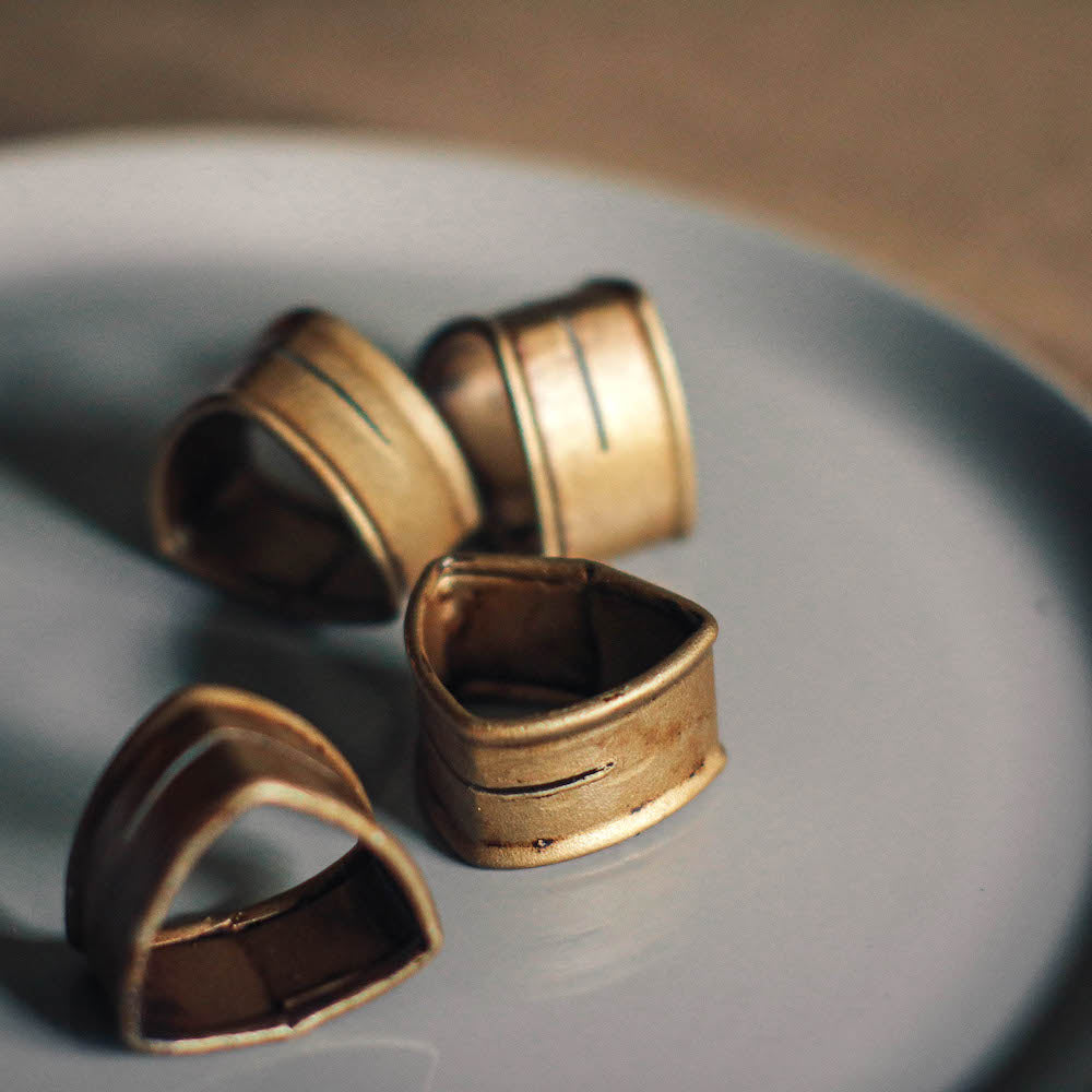 These table napkin rings, in rustic gold finish, match all types of table linens. Lovingly made in the Philippines through Domesticity.