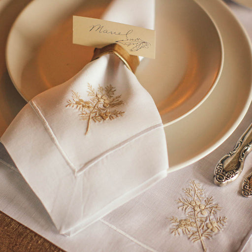 These elegant fabric table napkins make intimate gatherings much more special. Lovingly embroidered in the Philippines.