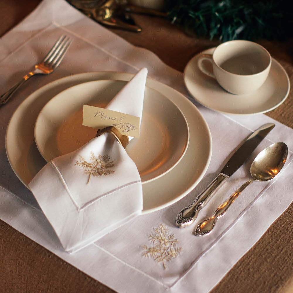These elegant fabric placemats make intimate gatherings much more special. Lovingly embroidered in the Philippines.