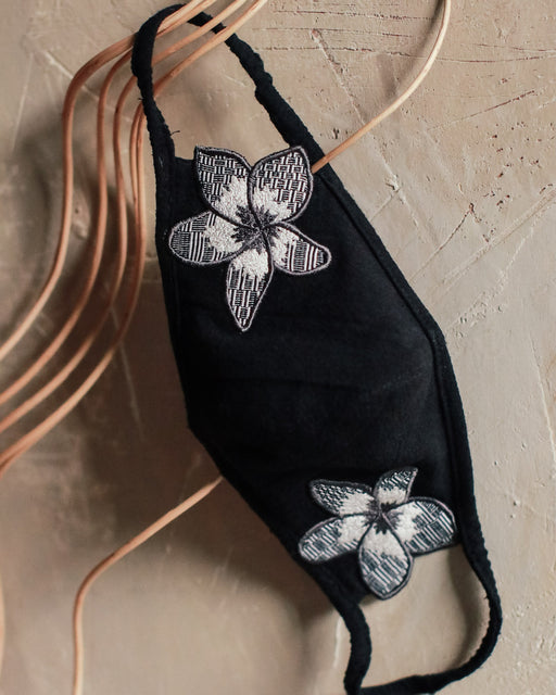 Olivia Embroidered Care Mask - Black