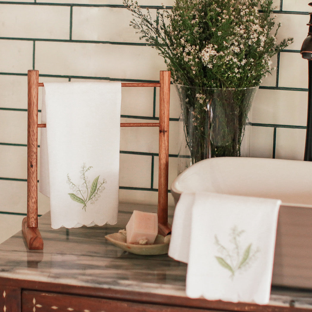 Lily of the Valley Guest Towels with Wooden Stand