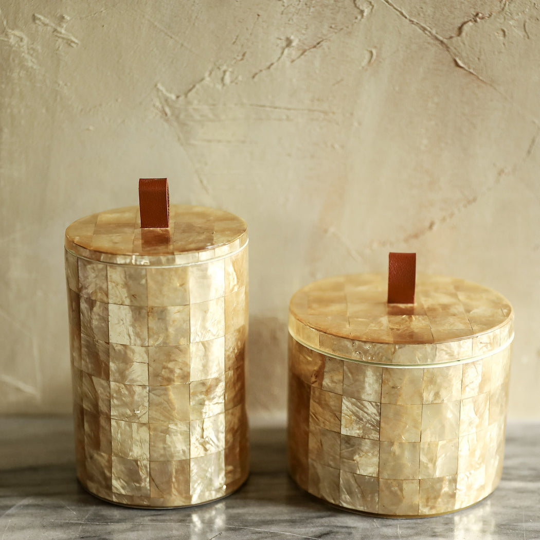 Sienna Capiz Bathroom Canister Set of 2