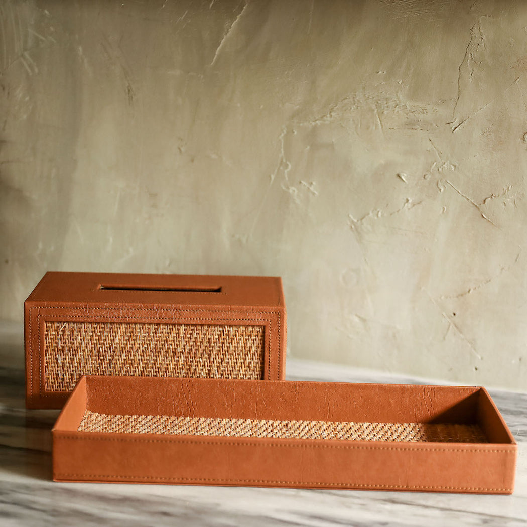 Rosita Woven Rattan Tissue Cover and Bath Tray Set
