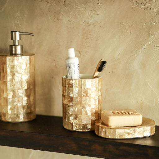 Elevate the look of your bathroom counter with the Sienna Capiz Bathroom Accessories Set of 3. Meticulously handmade in the Philippines.