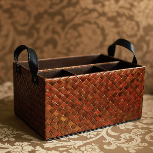 Sample Sale Z - Pandan, Jute Sack & Faux Leather Cutlery Caddy