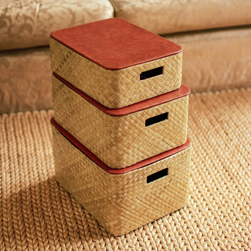 Rosario Stacking Woven Pandan Box - Natural