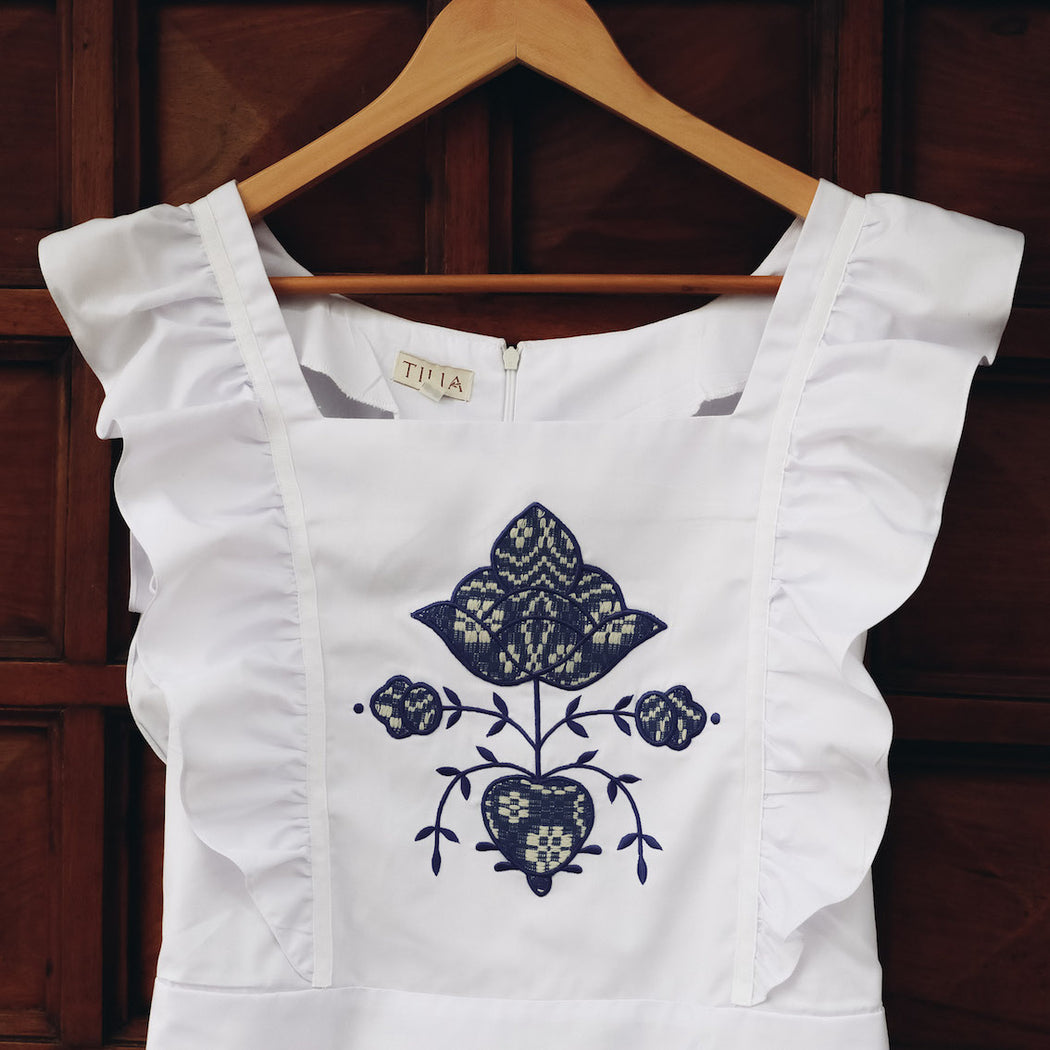 Frida Apron Dress - White